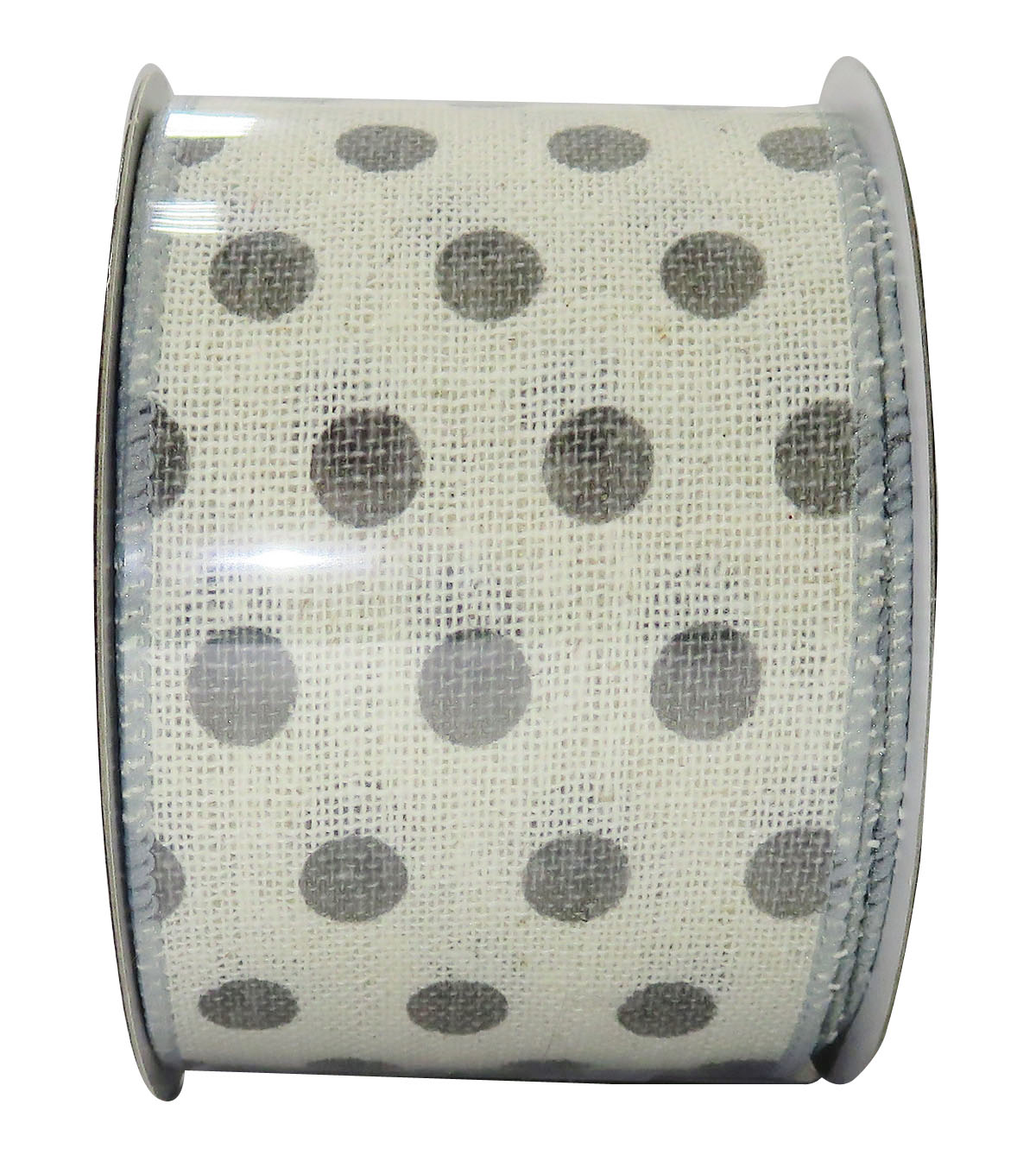 Decorative Ribbon 2.5\u0027\u0027 X 15\u0027-Gray Dot on Cream