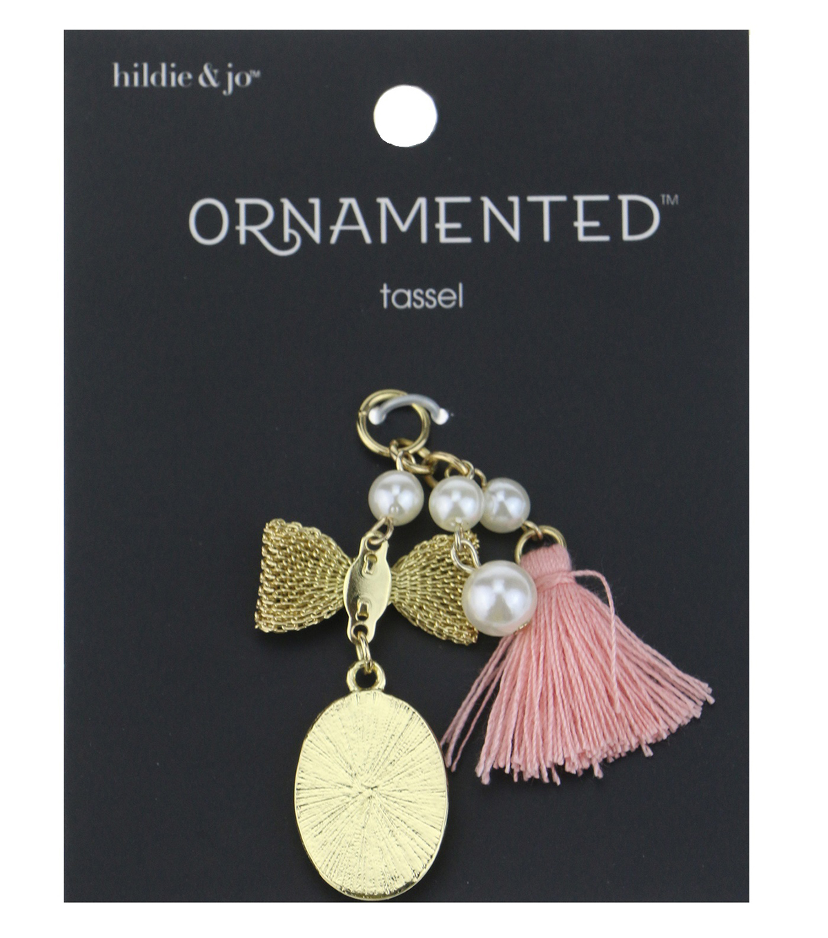 hildie & jo™ Ornamented 2\u0027\u0027 Bow & Oval Gold with Pink Tassel