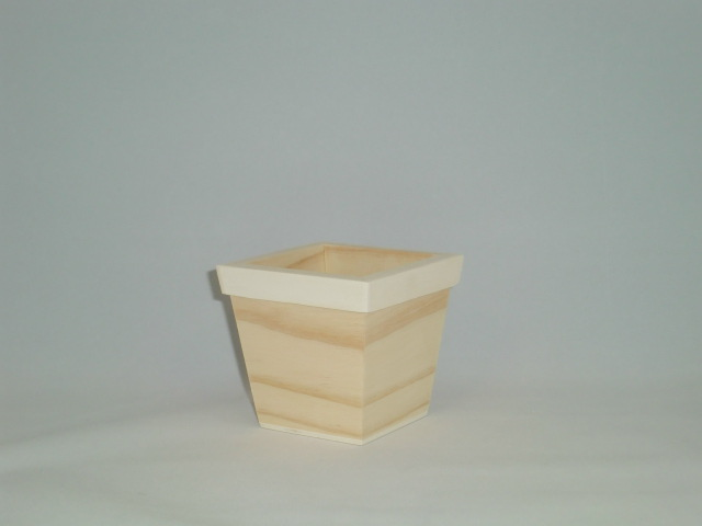 Small Square Wood Pot