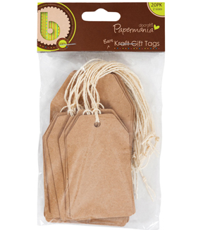 Papermania Bare Basics Cardstock Tags W/String 20/Pkg-Natural Kraft Shipping