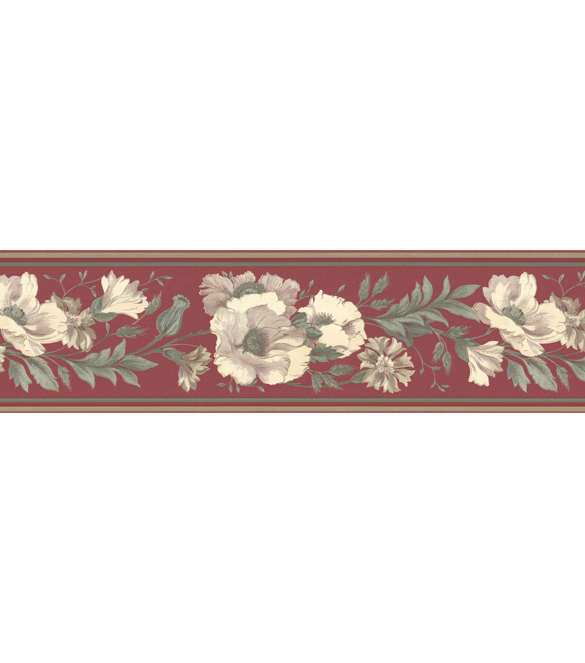 Floral Trail Wallpaper Border, Red Sample