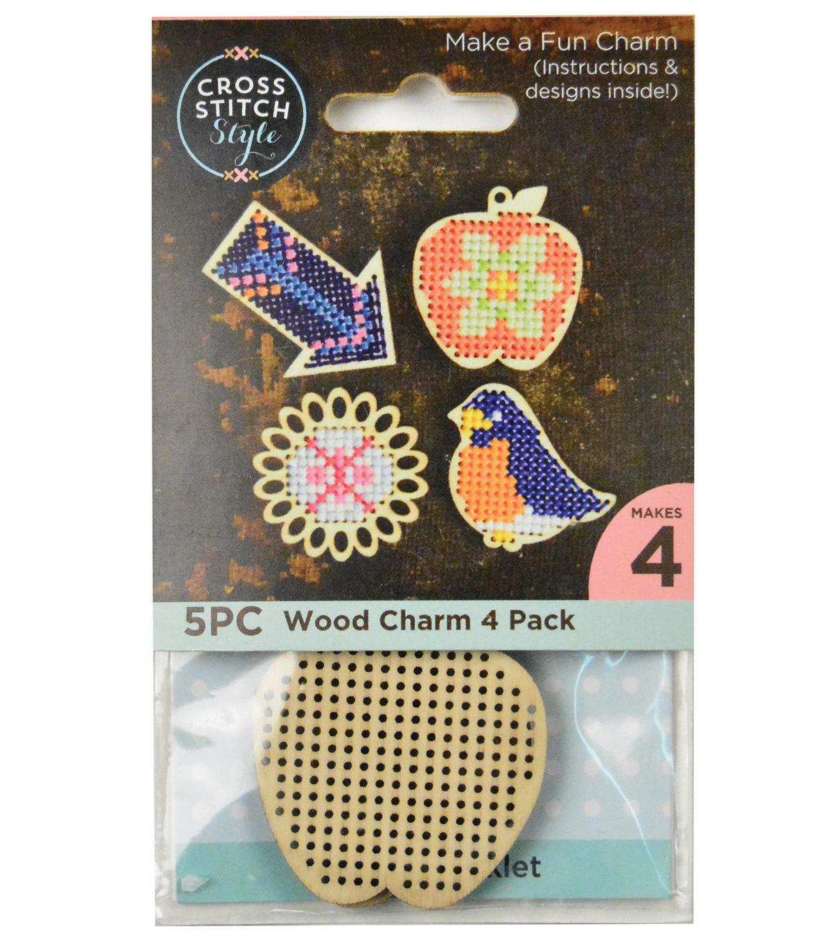 Cross Stitch Style 4 Pack Wood Charms-Bird, Apple, Arrow & Flower
