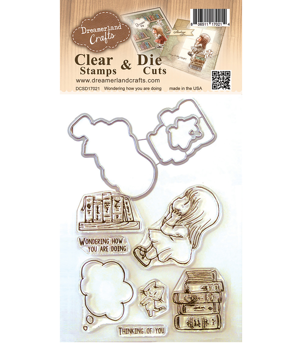 Dreamerland Crafts Clear Stamp & Die Set-Wondering How You Are Doing