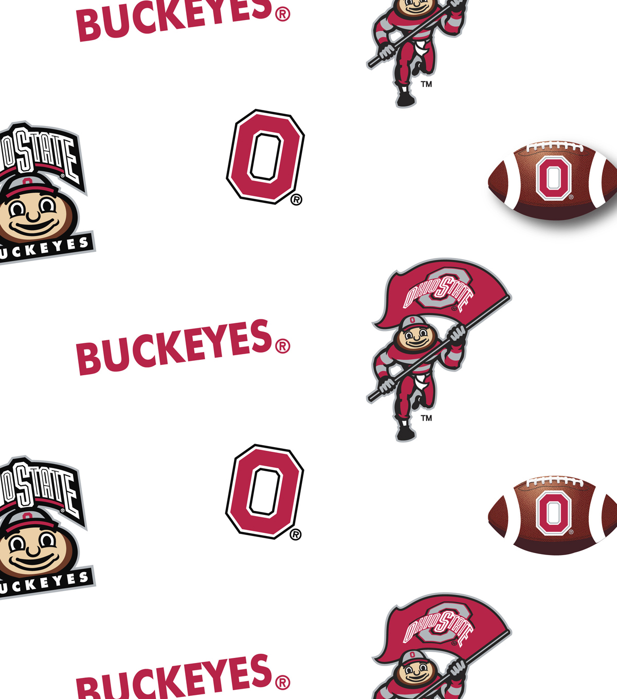 Ohio State University Buckeyes Cotton Fabric 43\u0022-Allover