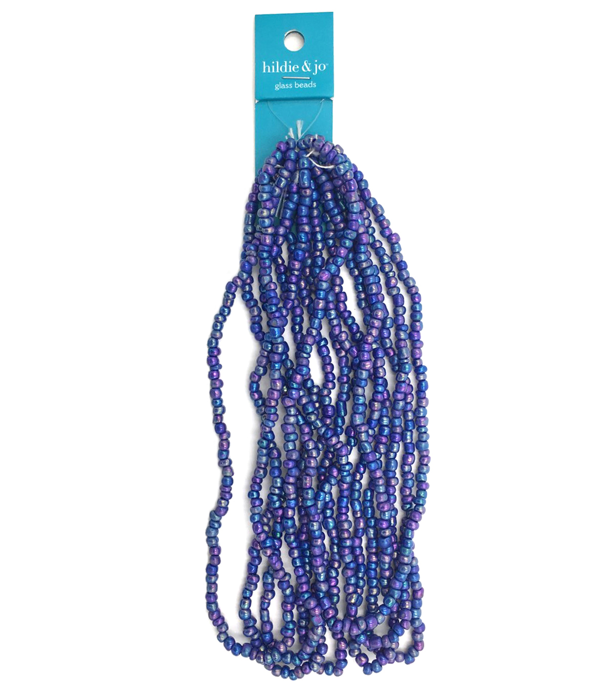 Blue Moon Strung Glass Seed Bead Hank,Blue AB