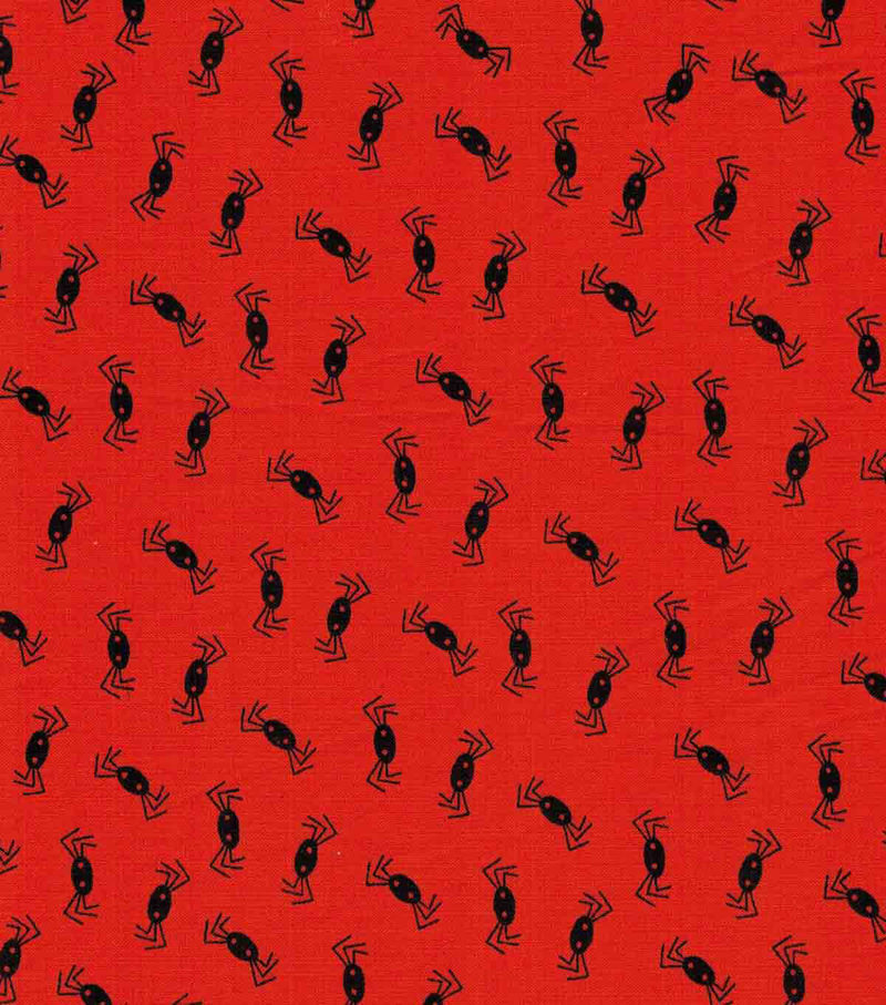 Holiday Showcase™ Halloween Cotton Fabric 43\u0022-Tossed Spiders On Orange