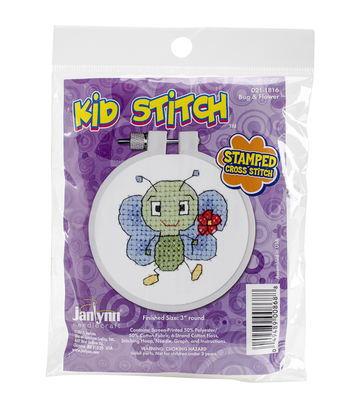Janlynn® Kid Stitch Stamped Cross Stitch Kit-Bug & Flower