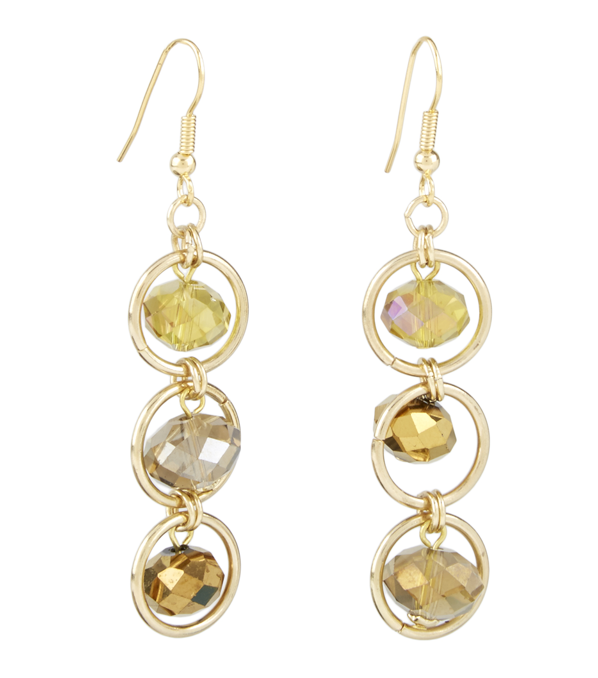 Three Drop Framed Earring Champagne