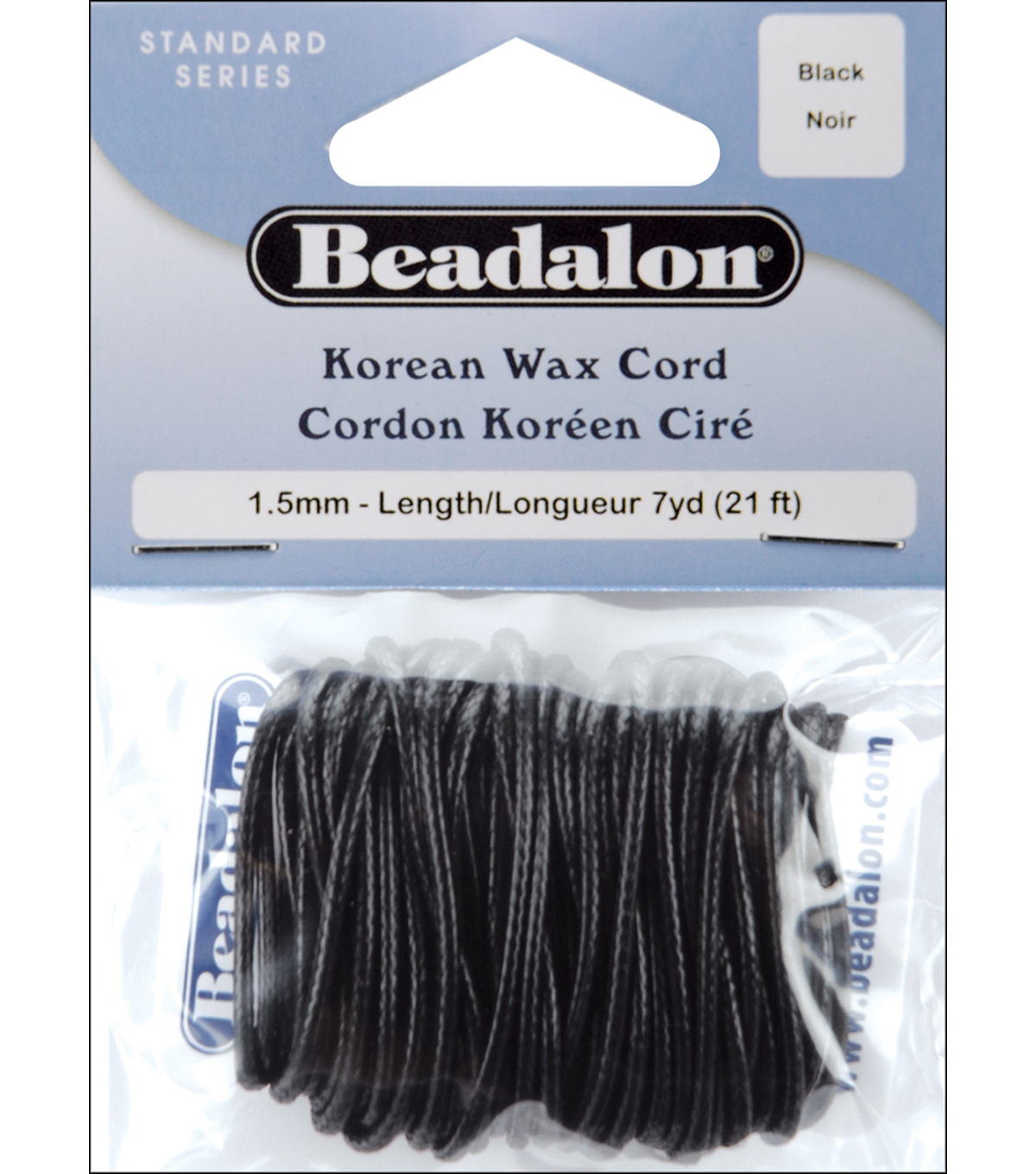 Korean  Wax Cord 1.5mm 7 Yards/Pkg-Black