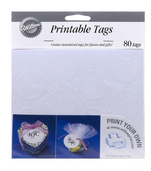 Wilton® 80ct Printable Circle Favor Tags-White