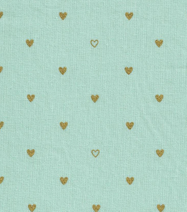 Keepsake Calico™ Cotton Fabric-Hearts Blue w/Gold Metallic