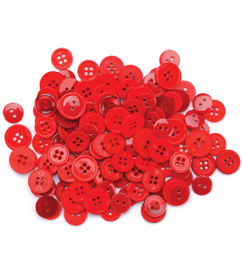 Favorite Findings Basic Buttons Assorted Sizes-Red 130/pkg