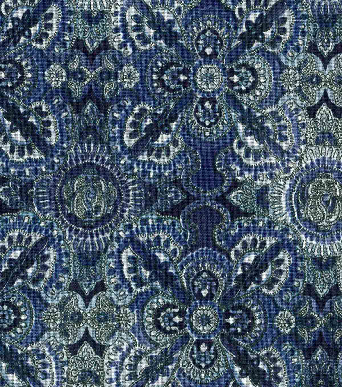 Modern Cotton Fabric 43\u0022-Large Medallions Blue