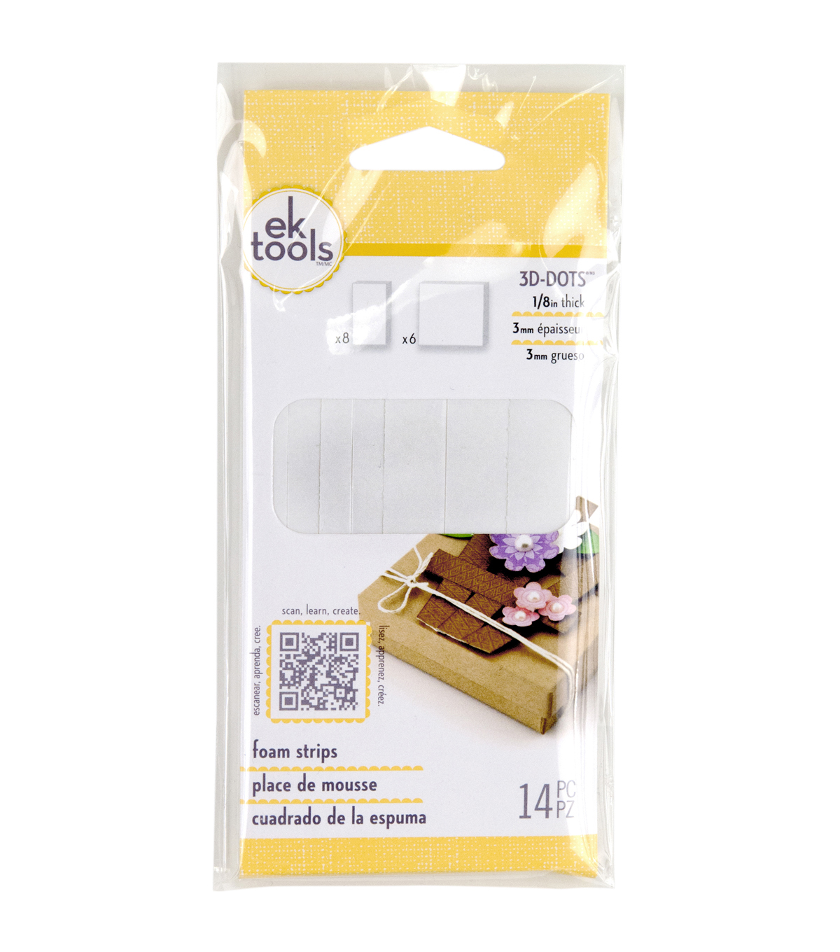 EK Success 3D Dots Foam Dot Adhesive Strips White