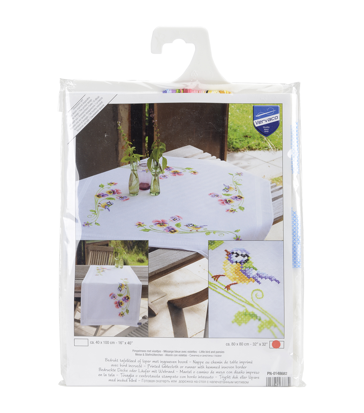 Vervaco Tablecloth Stamped Embroidery Kit-Little Birds And Pansies
