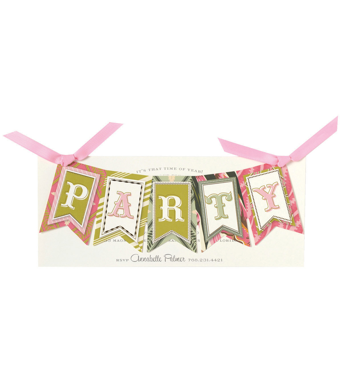Anna Griffin Party Banner Diecut Word Custom Invitation