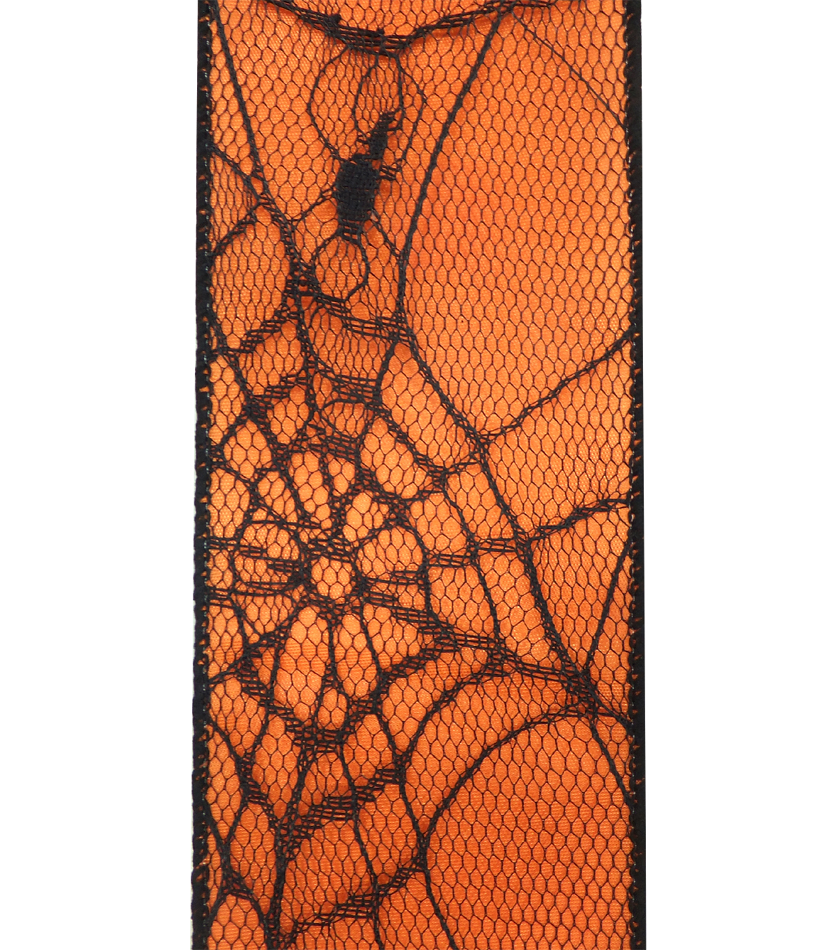 Maker\u0027s Halloween Ribbon 2.5\u0027\u0027x12\u0027-Black Spider Web on Orange