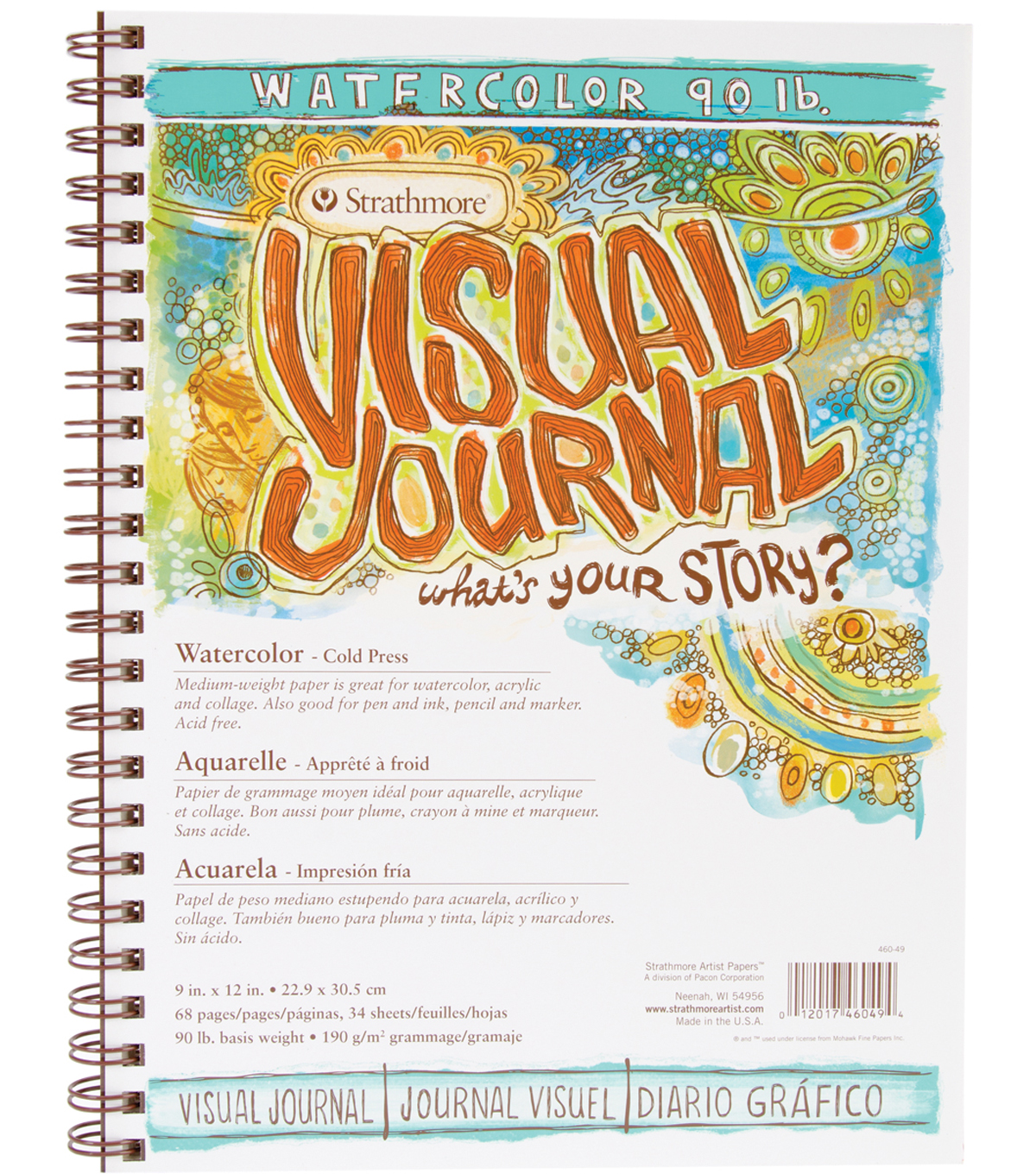 Strathmore Visual Journal Watercolor 9\u0022X12\u0022-34 Sheets