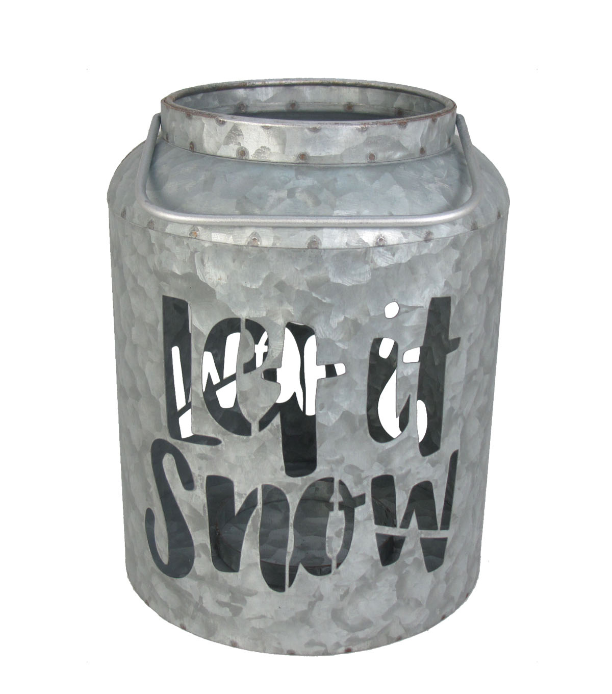 Maker\u0027s Holiday Christmas Small Let It Snow Hallow-out Metal Canister