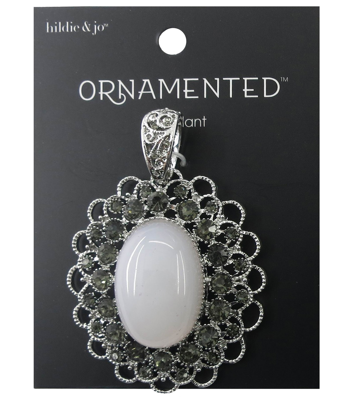 hildie & jo™ Ornamented Oval Scalloped Silver Pendant-Ivory Stone