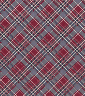 Vintage Cotton Fabric 43''-Red, Blue & White Bias Plaid on Gray