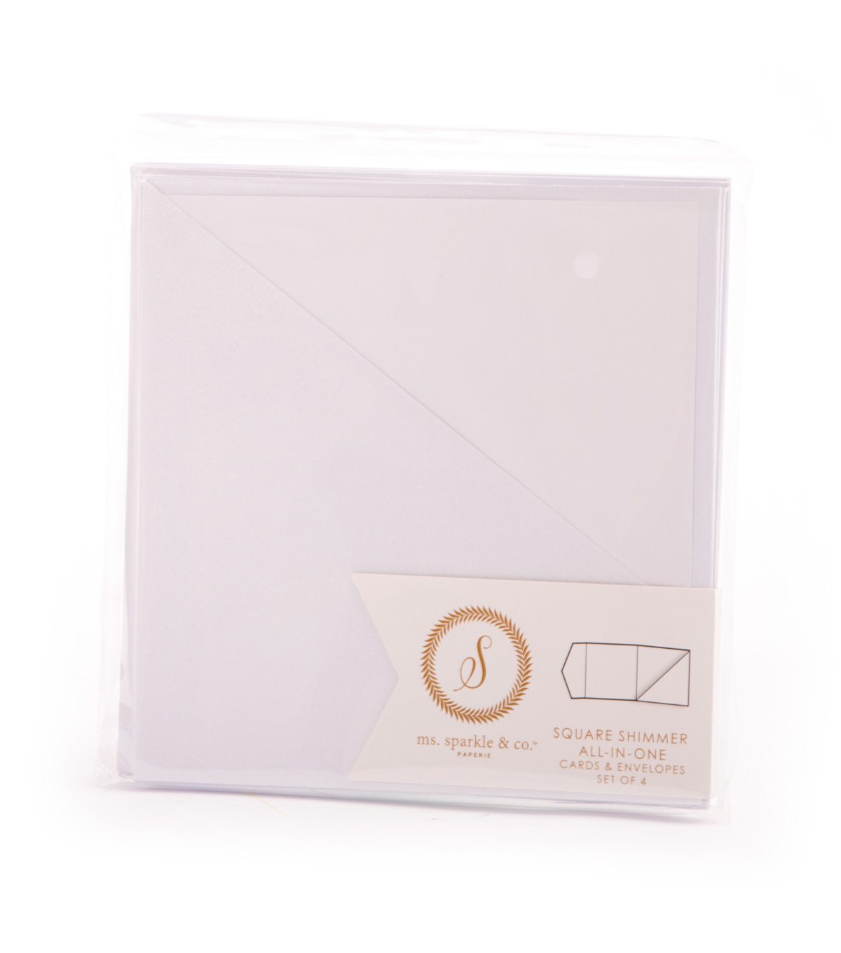 Ms. Sparkle & Co. All In One Shimmer Square Cards & Envelopes-White