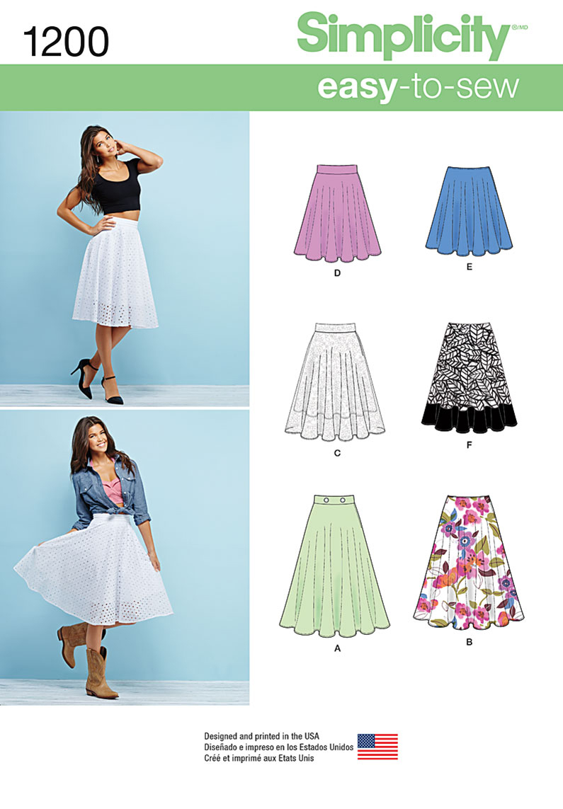 Simplicity Pattern 1200R5 14-16-18-2-Skirts & Pants