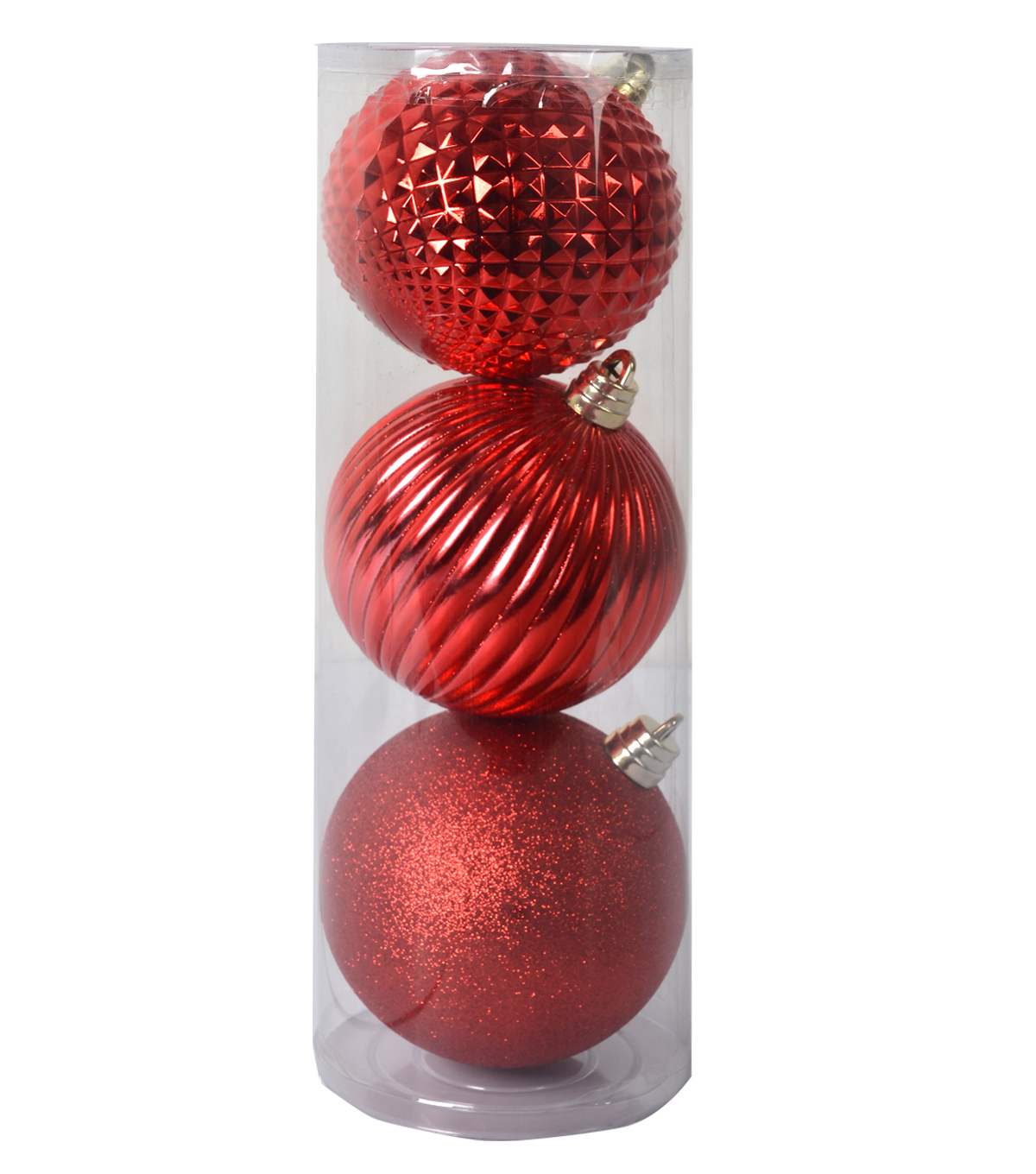 Holiday Cheer Shatterproof Ornaments-150Mm-Red-3 Piece