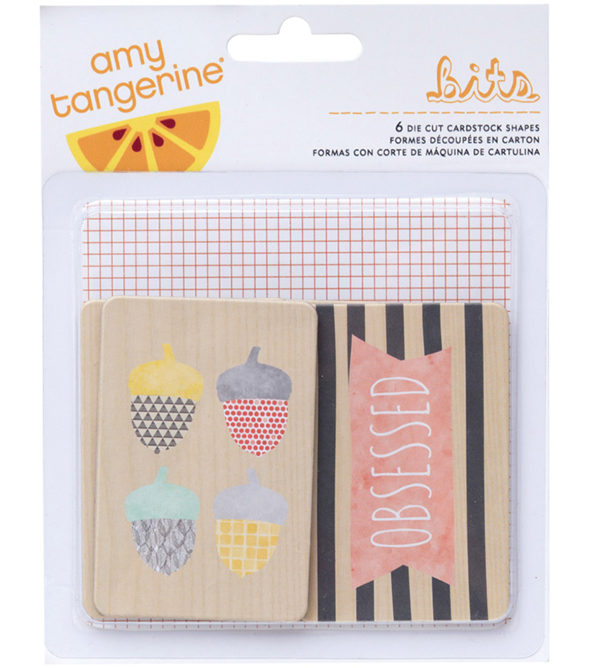 American Crafts Amy Tangerine Stitched Die-Cut Printed Chipboard