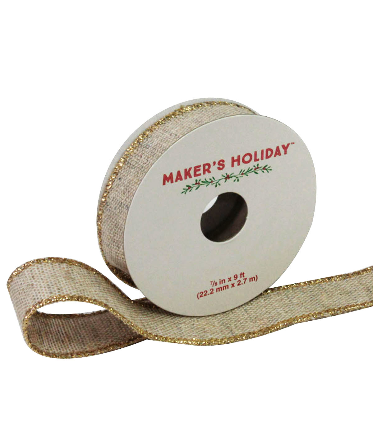 Maker's Holiday Burlap Wired Ribbon 7/8''x9'-Ivory & Gold