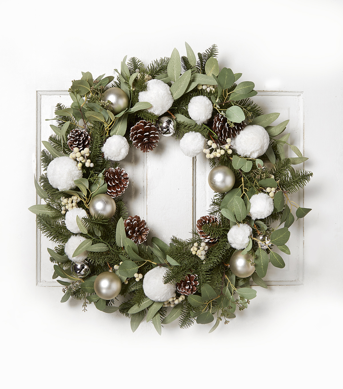 Blooming Holiday 28\u0027\u0027 Fur Snowball, Bell & Pinecone Wreath