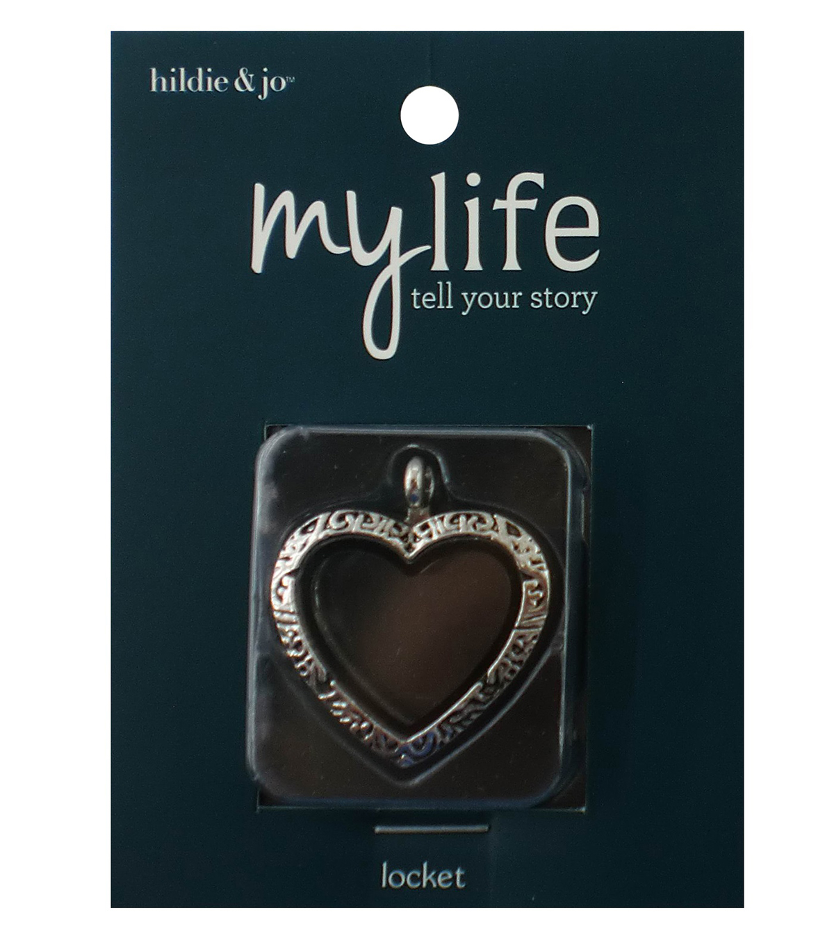 hildie & jo™ My Life Heart Scroll Silver Locket-Clear Glass