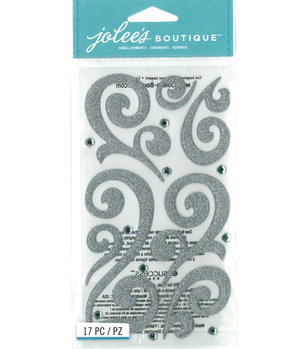 Jolee's Boutique - Silver Puffy Flourishes with Gems