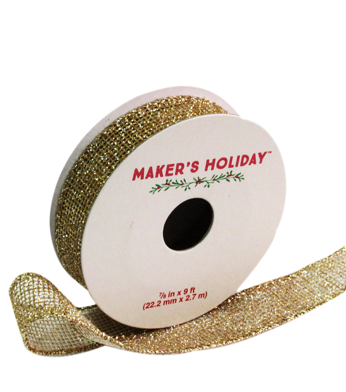 Maker\u0027s Holiday Mesh Wired Ribbon With Glitter 7/8\u0027\u0027x9\u0027-Gold
