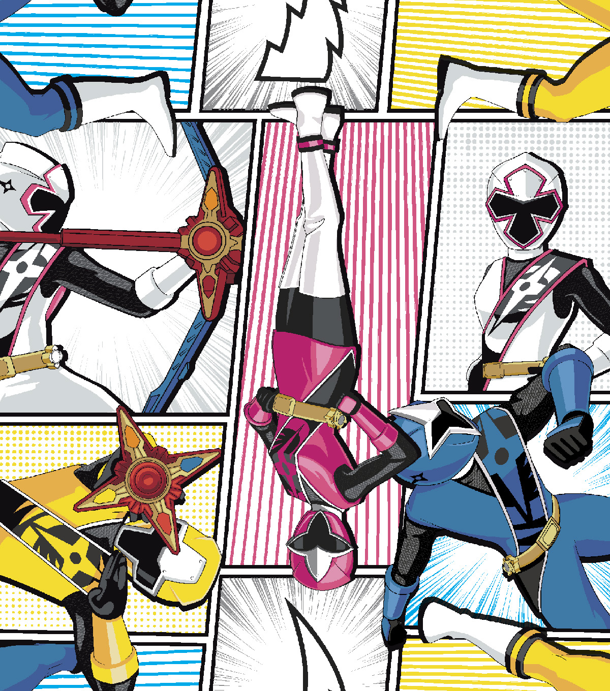 "Power Rangers Cotton Fabric 43""-Packed Ninja Power"