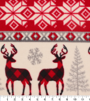 Anti-Pill Fleece Fabric 59\u0022-Buffalo Check Deer Knit