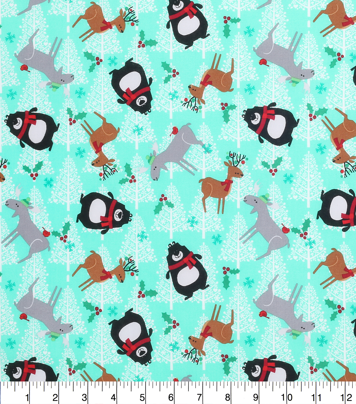 "Keepsake Calico™ Holiday Cotton Fabric 43""-Northwood Creatures and Trees"
