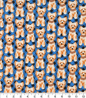 "Novelty Cotton Fabric 43""-Dog On Blue Plaid"