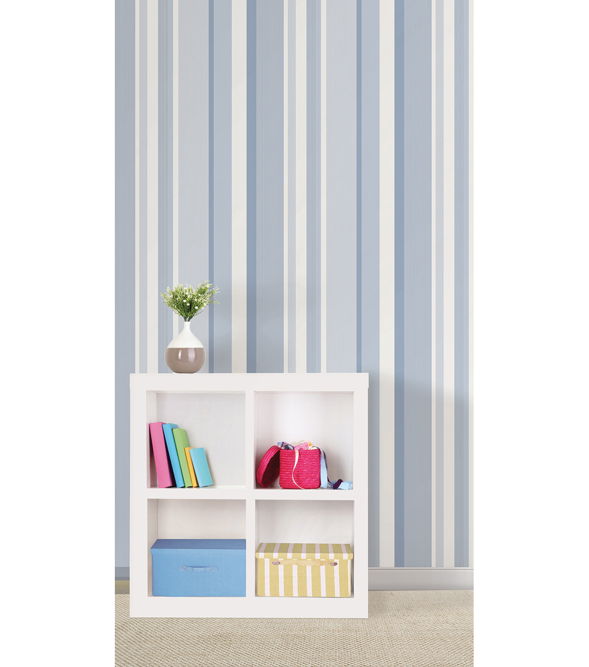 WallPops®NuWallpaper™Blue Awning Stripe Peel And Stick Wallpaper