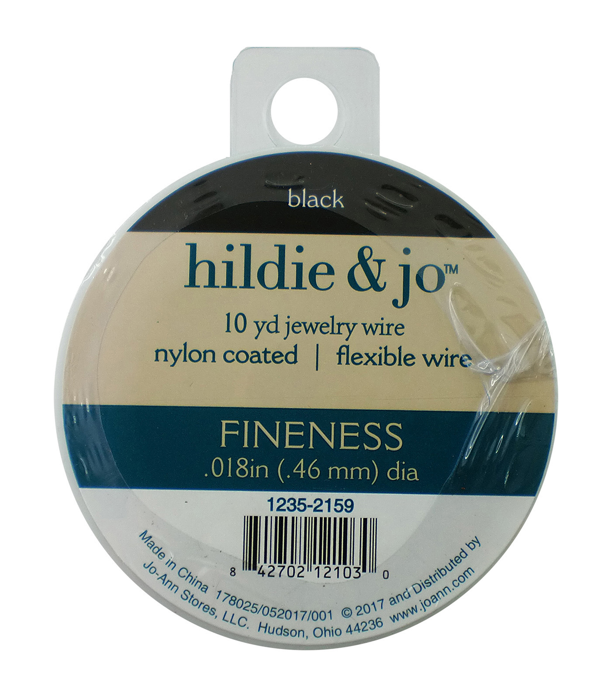 Nylon Coated Flexible Jewelry Wire, Black, .018 in x 30ft.