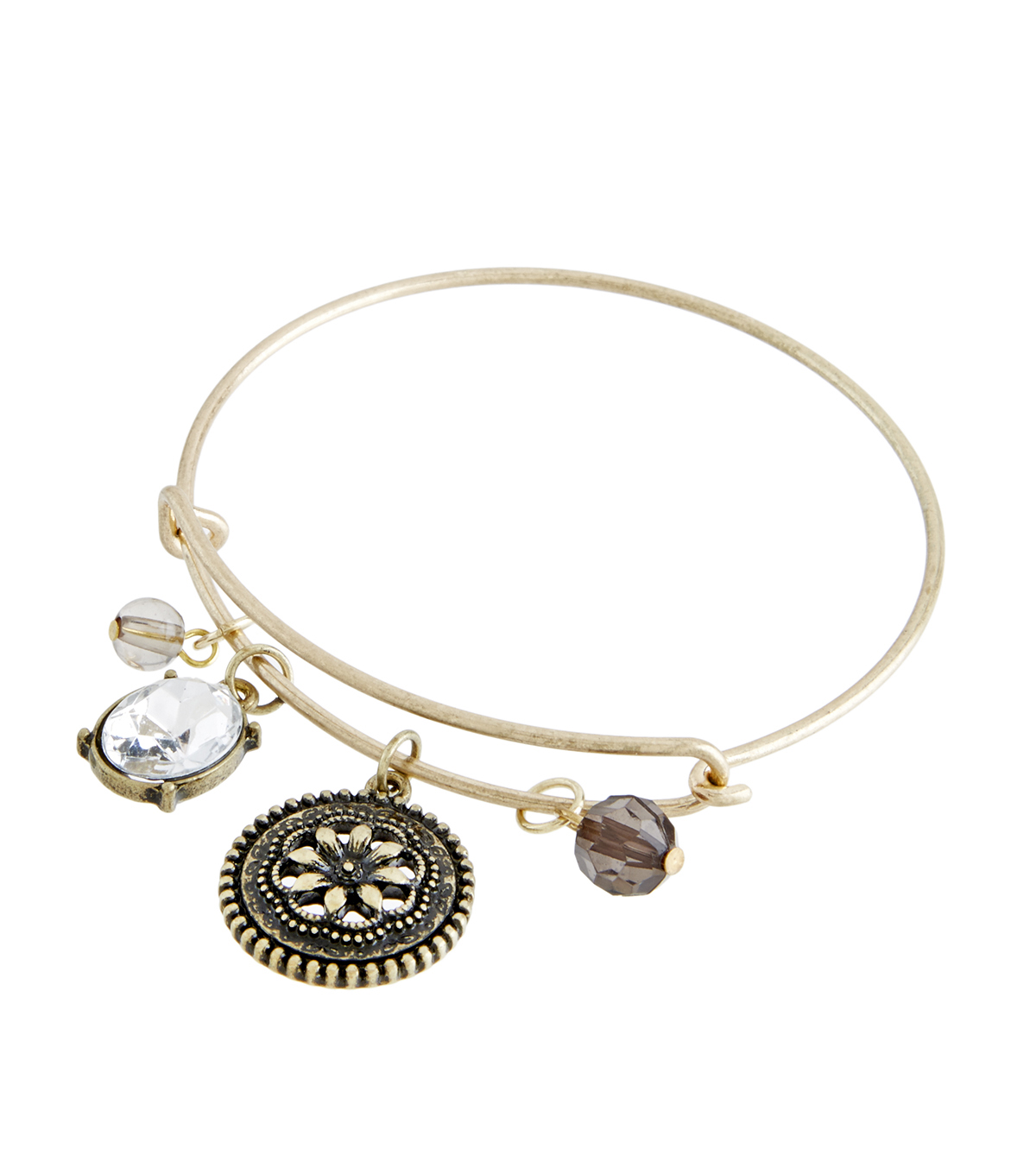 Finished Bracelet Flower Coin - Brass Ox
