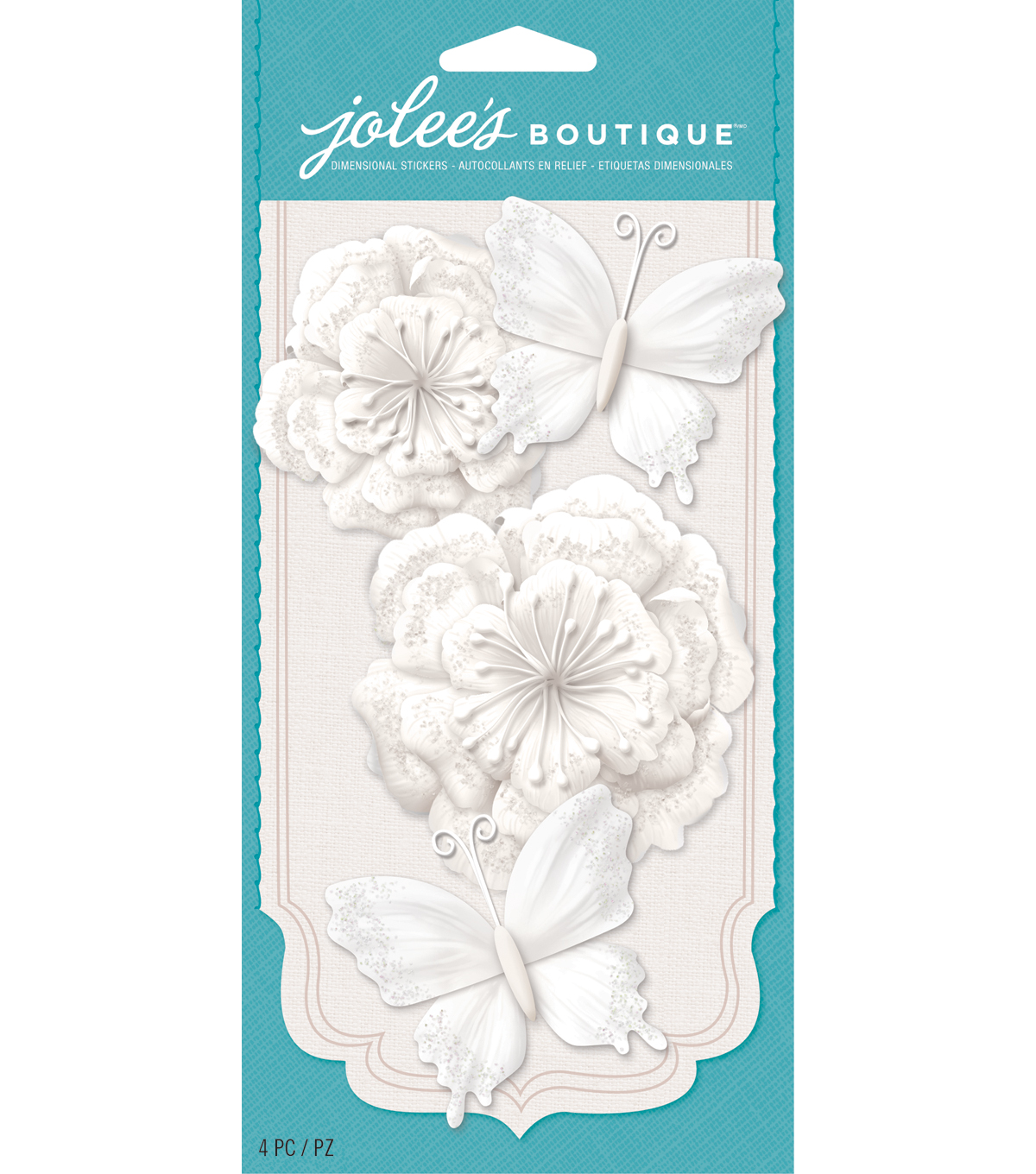 Jolee\u0027s Boutique - White Glitter Butterfly Paper Flowers