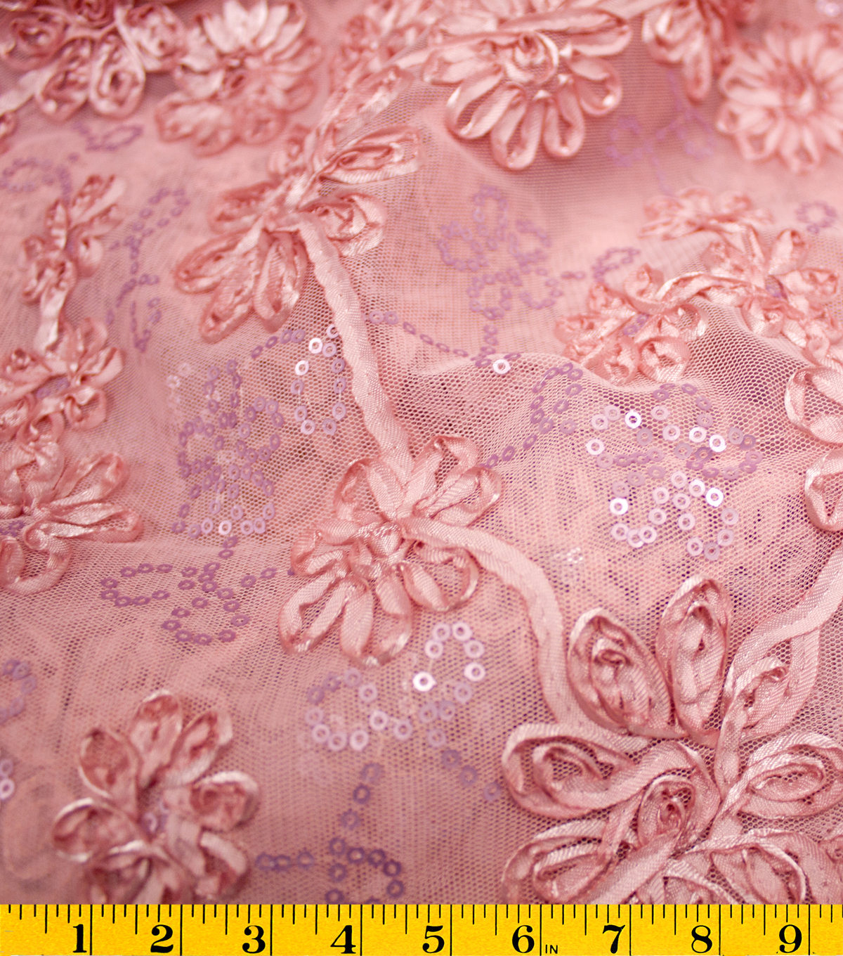 David Tutera Fabric - Sequin Bouquet Mesh Rose