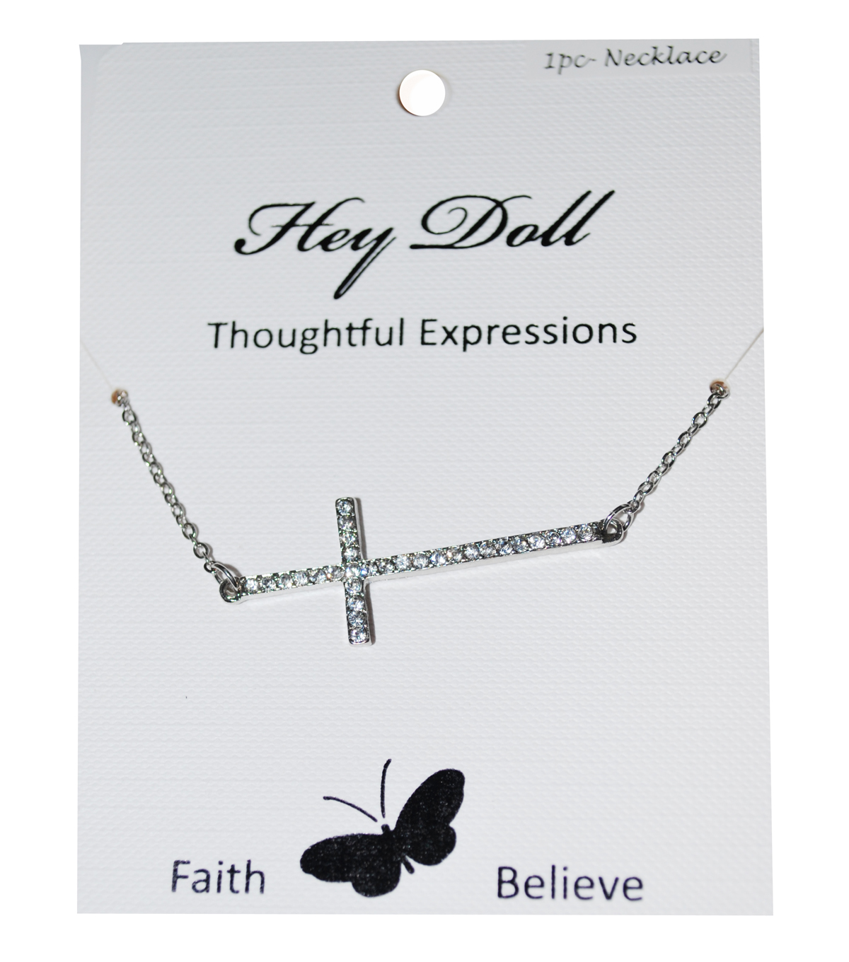 Hey Doll Silver Sideways Rhinestone Cross Necklace