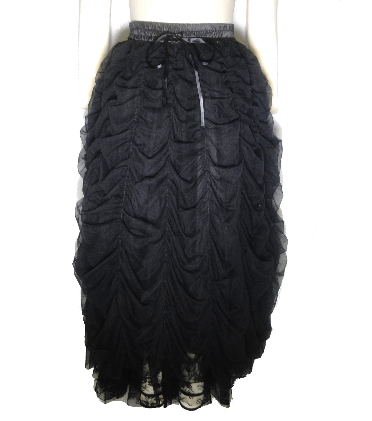 Maker\u0027s Halloween Adult Long Ruched Steampunk Tutu-Black
