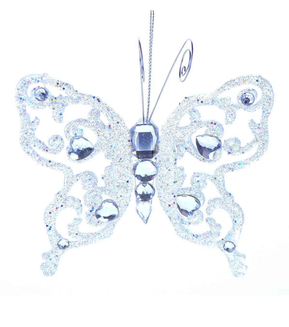 Maker\u0027s Holiday Butterfly Ornament-Silver Glitter