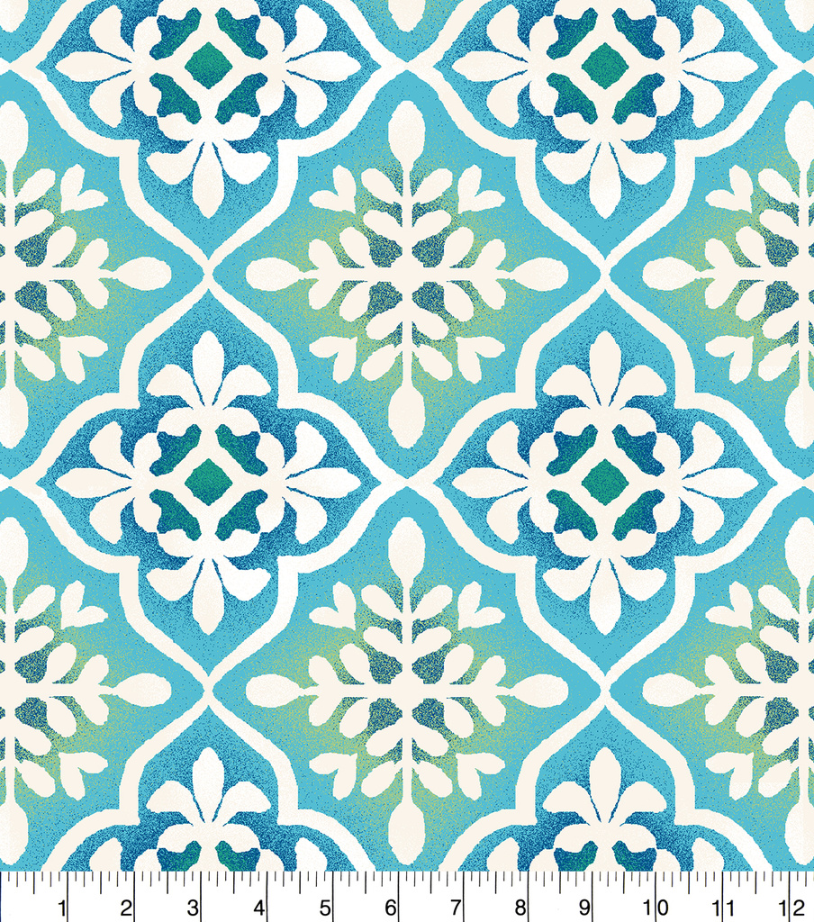 "Anti-Pill Fleece Fabric 58""-Blue Green Tile Print"