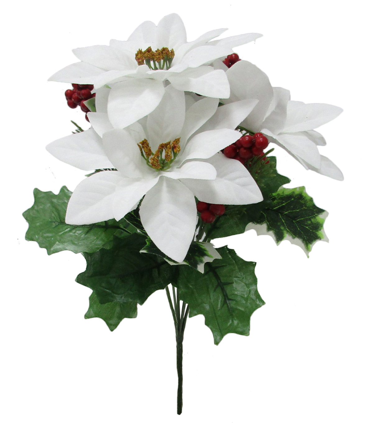 Blooming Holiday Poinsettia & Berry Mixed Bush-White