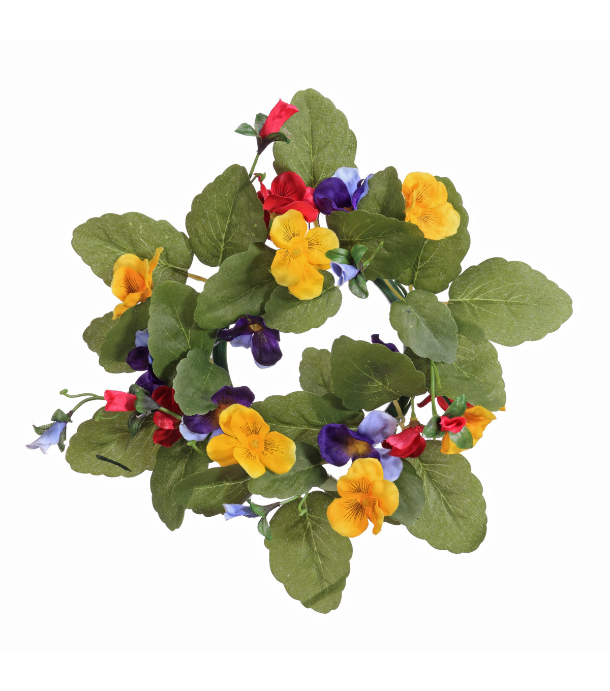 Blooming Spring 9'' Pansy Candle Ring-Yellow, Red & Purple
