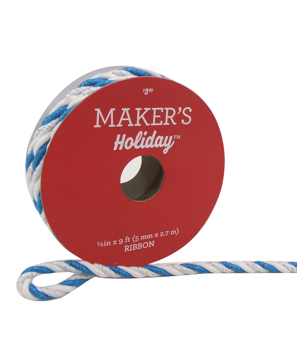 Maker\u0027s Holiday Christmas Cord Ribbon 1/5\u0027\u0027x9\u0027-White & Blue